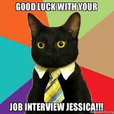 Good Luck Cat Meme - good luck with your job interview jessica business cat make