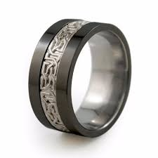 mens titanium wedding bands camelot sculpted precious inlay men s black titanium ring