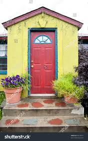 Red Door Quaint Green Building Red Door Blue Stock Photo 60135817