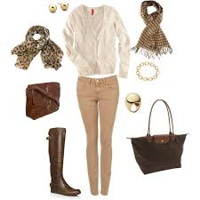 what to wear with light brown boots tan khaki skinny jeans cream cardigan brown leather riding boots