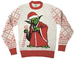 sweater wars wars jedi yoda dressed as santa white