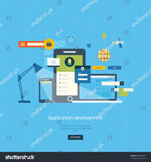 modern flat design application development concept stock vector