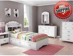 Girls White Twin Bed Kids Twin Bed Wood Bedroom Furniture Storage Drawers Nursery Girls