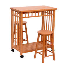 kitchen island table with stools homcom rolling kitchen island trolley cart storage table stools