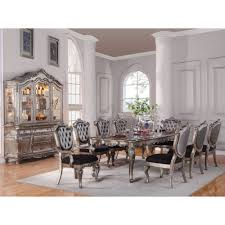 acme furniture chantelle 10pc dining set in antique platinum