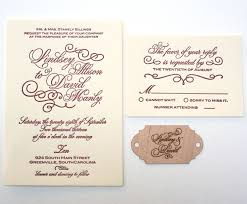 engraved wedding invitations custom made letterpress calligraphy wedding invitation with wood