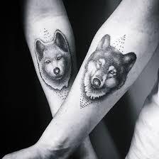 dotwork wolf head tattoo on couple forearm creativefan