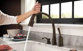 delta kitchen faucet bronze delta pilar single handle pull sprayer kitchen faucet with