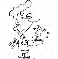 vector of a cartoon grumpy woman holding a burnt cake coloring