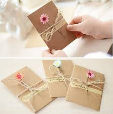 Invitation Cards Handmade - diy retro kraft paper handmade dried flower greeting card