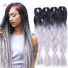 Two Tone Ombre Hair Extensions by Wholesale Ombre Grey Jumbo Braiding Hair Synthetic Two Tone Hair