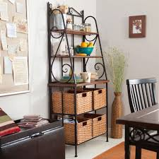 Bakers Rack Shelves Durable Metal And Wood Bakers Rack With Classic Wicker Basket