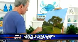 Bush Bathtub Painting Bill Clinton Jokes About Wanting George W Bush To Paint Him