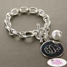 pearl bracelet with silver charm images Large chunky monogrammed bracelet with pearl charm the pink monogram jpg