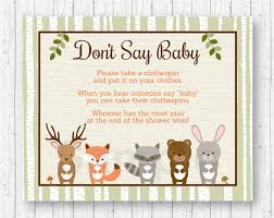 clothespin baby shower woodland forest animal don t say baby baby shower
