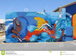 marine life street art in fremantle western australia editorial editorial stock photo