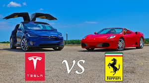 suv tesla blue tesla model x p90d ludicrous vs ferrari f430 drag racing and roll