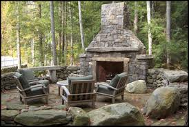 rustic stone fireplaces decorations comfortable arm chairs and rustic outdoor stone