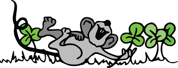 clipart of a st patricks day mouse playing in shamrock clovers