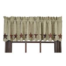 new primitive country abilene homespun stars rust wine tan valance