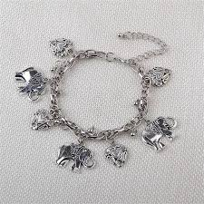 antique charm bracelet silver images Elephant heart charms bracelets retro antique gold silver color jpg