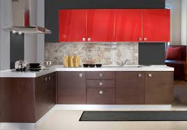 open kitchen design with red cabinet and storage underneath along