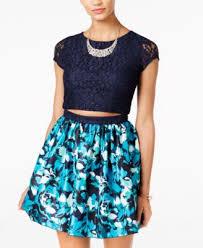 speechless juniors u0027 2 pc lace printed a line dress a macy u0027s