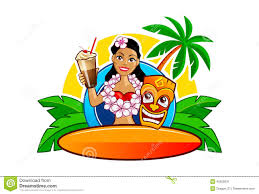 cartoon cocktail hawaii hula and surfing clipart