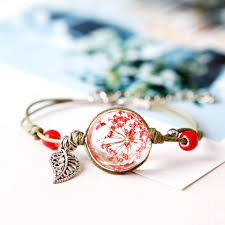 leaf charm bracelet images Fashion women bracelets handmade ceramic bead leaf charm glass jpg