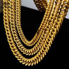 stainless chain link necklace images Mens 24k golden cuban curb chain 9 14mm width 24 quot 30 quot 36 quot long jpg