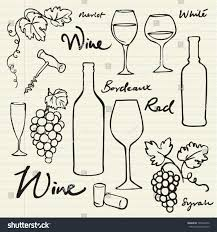 wine grapes icons doodle vector illustration stock vector