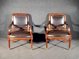 de fauteuil de bureau paire de fauteuils de bureau en acajou et cuir époque xixe n 54858