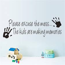 online get cheap 3d printed wall stickers aliexpress com please excuse the mess waterproof hand print wall stickers home decor for kids rooms window