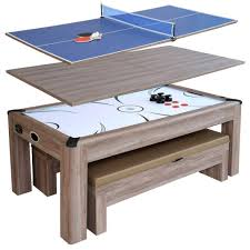 outdoor air hockey table driftwood 7 ft air hockey table tennis combo set w benches blue