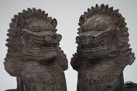 fu dog statues pair of solid bronze khmer foo dog or singha statues siam