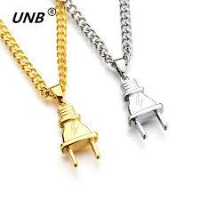 charm chains necklace images Unb 2017 new gold color electrical plug shape pendants necklaces jpg