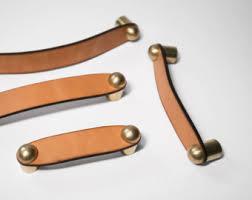 wyatt leather pull brass tan leather cabinet pulls brass