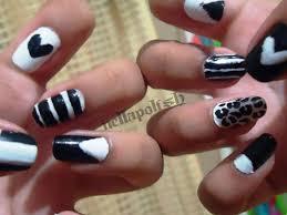 37 white and black nail polish design nails in pics