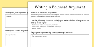 writing a balanced argument worksheets balanced argument
