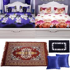 collection of 2 digitally printed bed sheets 1 runner 1 mat and 2