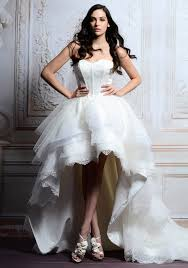 fantastic morden short white lace ball gown wedding dress with