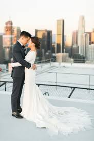 downtown l a wedding with rooftop views dawn atelier and