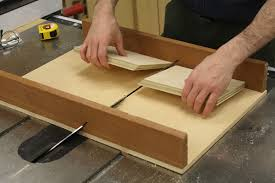 miter cuts on table saw build a jig for hidden spline joinery startwoodworking com