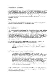 sample loan agreement contract format for loan agreement loan
