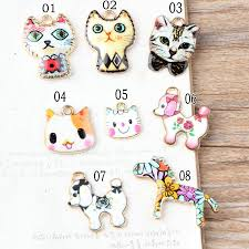 newest colorful animal cat enamel charms gold tone alloy