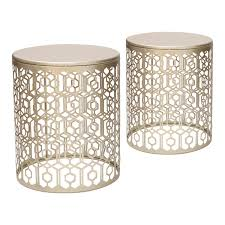 side table set of 2 joveco metal iron strip structure stool end table side table