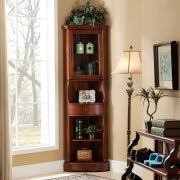 Corner Curio Cabinet Kit Corner Lighted Curio Cabinet Golden Oak Box 1 Of 2 Walmart Com
