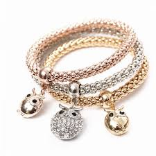 rhinestone bracelet charms images 3 pcs set crystal owl crown metal charm bracelets bangles rose jpg
