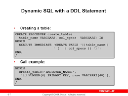 Create Table Oracle Sql Dynamic Sql And Metadata Ppt Download