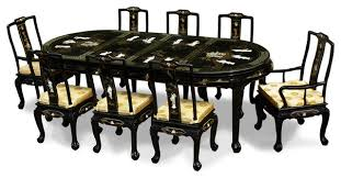 Black Lacquer Pearl Figure Motif Oval Dining Table With - Black lacquer dining room set
